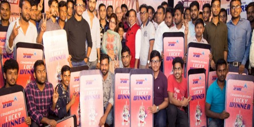 Head of Marketing and Sales of Bashundhara LP Gas Mir TI Farooq Rizvy and Head of Business Development (Sector A) ZM Ahmed Prince posing with the prize winners at the award-giving ceremony of Bashundhara LP Gas-organised FIFA World Cup 2018 quiz contest in the capital recently